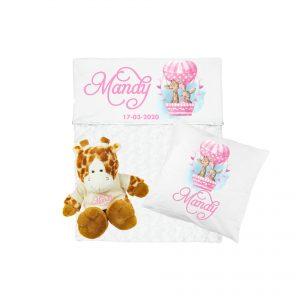 Gift set baby inclusief babydeken met naam